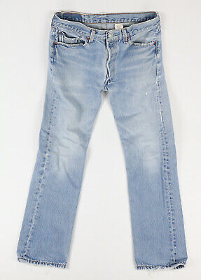 Vintage Made In Mexico Levis 501 Button Fly Distressed Blue Jeans Fits 30x30