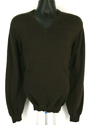 BROOKS BROTHERS Stretch Mens Merino Wool V Neck Brown Sweater Tag Size XL