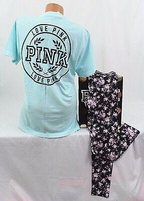 (Victoria's Secret PINK sz M set~Campus Tee & Fashion Legging~aqua, Cosmic Floral)