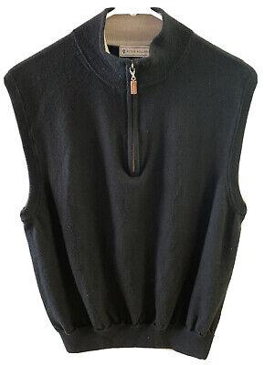 Peter Millar Mens Medium Golf 1/4 Zip Mock Sweater Vest Black 100% Merino Wool