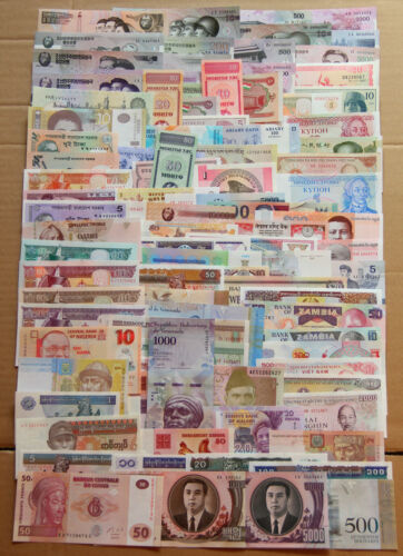 Lot of 100 PCS World Paper Money From 30 Different Countries Banknote UNC