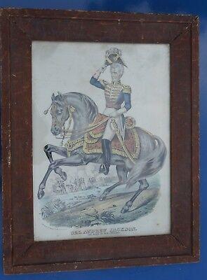 Antique Andrew Jackson Lithograph Hero Of New Orleans Folk Art Frame