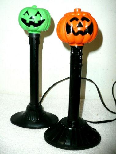 2 Vtg Halloween Blow Mold Electric Drip Candles Stick Window Lights