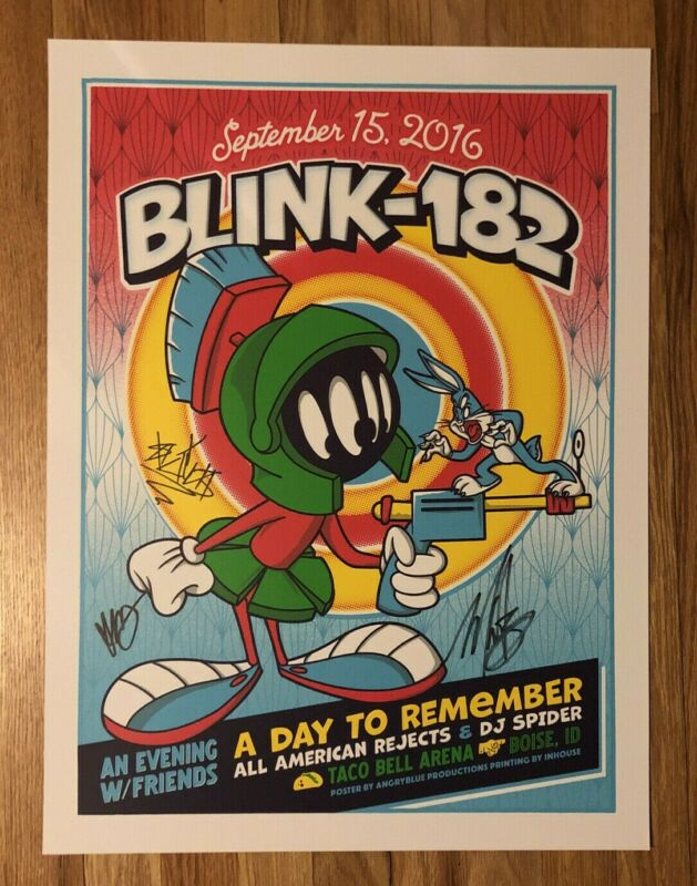 Blink-182 9/15/16 Boise, Idaho AUTOGRAPHED Event Poster MARVIN MARTIAN ORIGINAL
