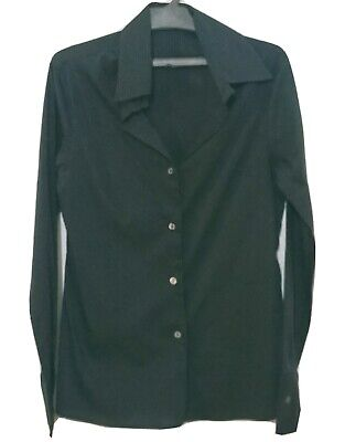JO NO FUI SHIRT BLOUSE SIZE XS STRIPED BLACK LONG SLEEVE MADE IN ITALY #33A