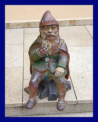 Original alter Gartenzwerg - Gnome -  Zwergenkönig  60 cm um 1900/1920  (# 4277)