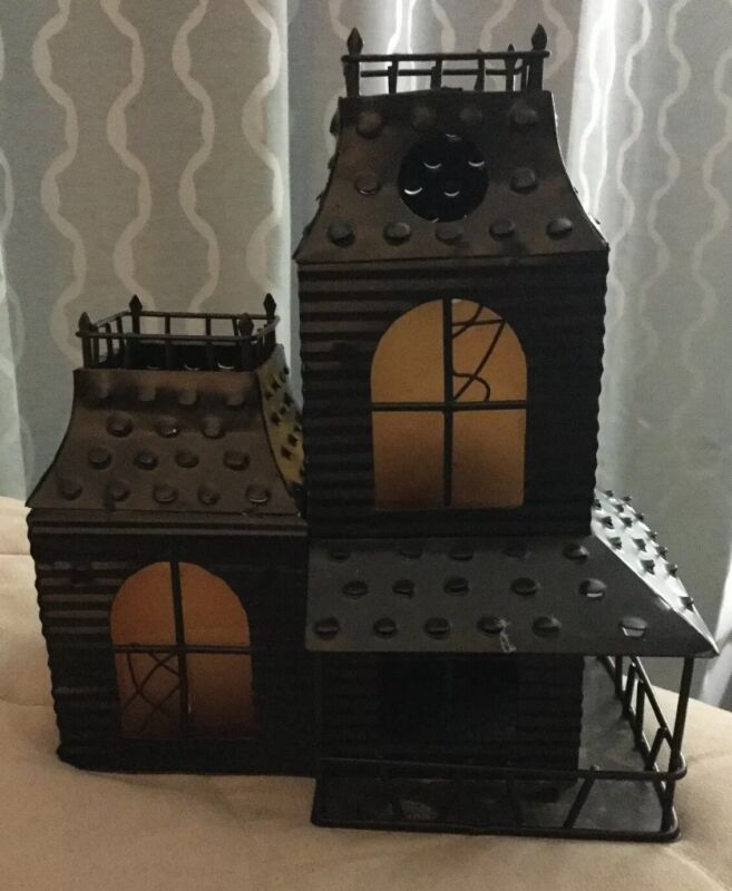 "Black Tin Haunted House 2 Votive Holders 8-1/4"" Tall 7-1/2"" Wide Halloween"
