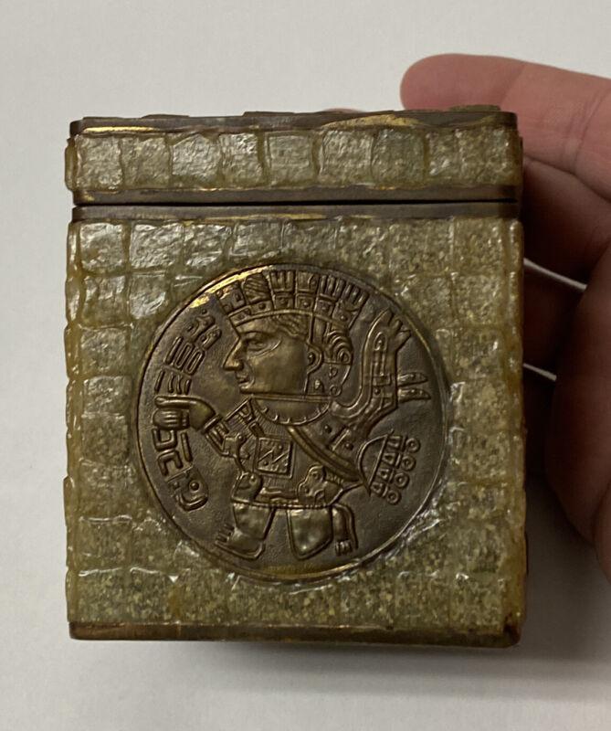 Stone Inlay Cigarette Brass Box Lined Mexico Los Castillo Mayan Aztec Disc Medal