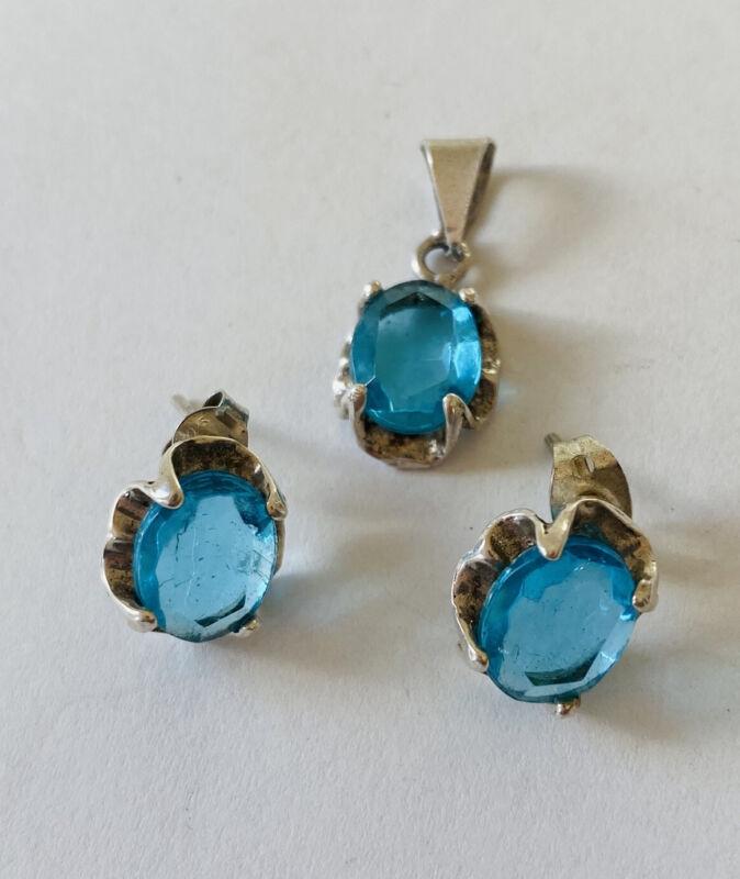 Vintage Mexico Sterling Silver Blue Topaz Stud Earrings & Pendant set
