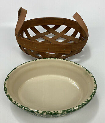 "Small 8"" Workshops of Gerald Henn Roseville Green Spongeware Bowl AND Basket"