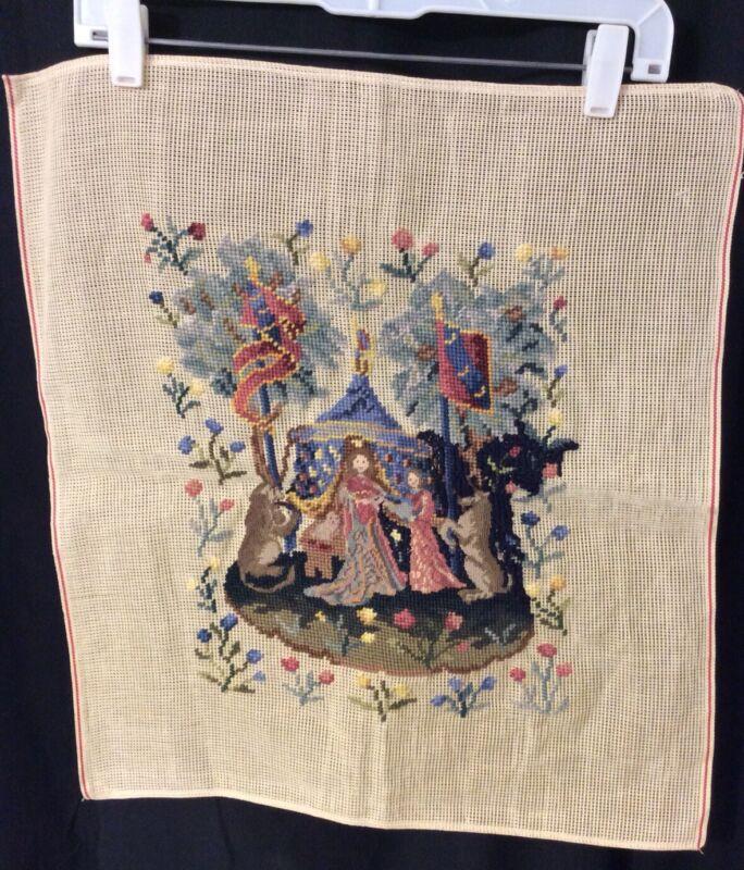 Vintage Tapestry Petit Point Needlepoint Renaissance (b)