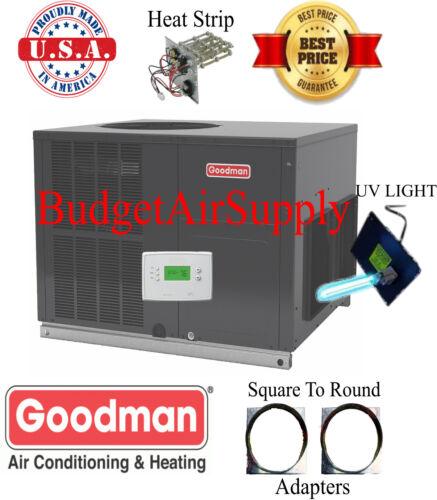 4 Ton 14 seer Goodman HEAT PUMP Multipos Package Unit GPH1448M41+Tstat+Heat+UV
