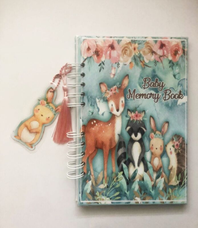 Baby Journal, Baby Book, Baby Journal And Memory Book, Woodland Pink