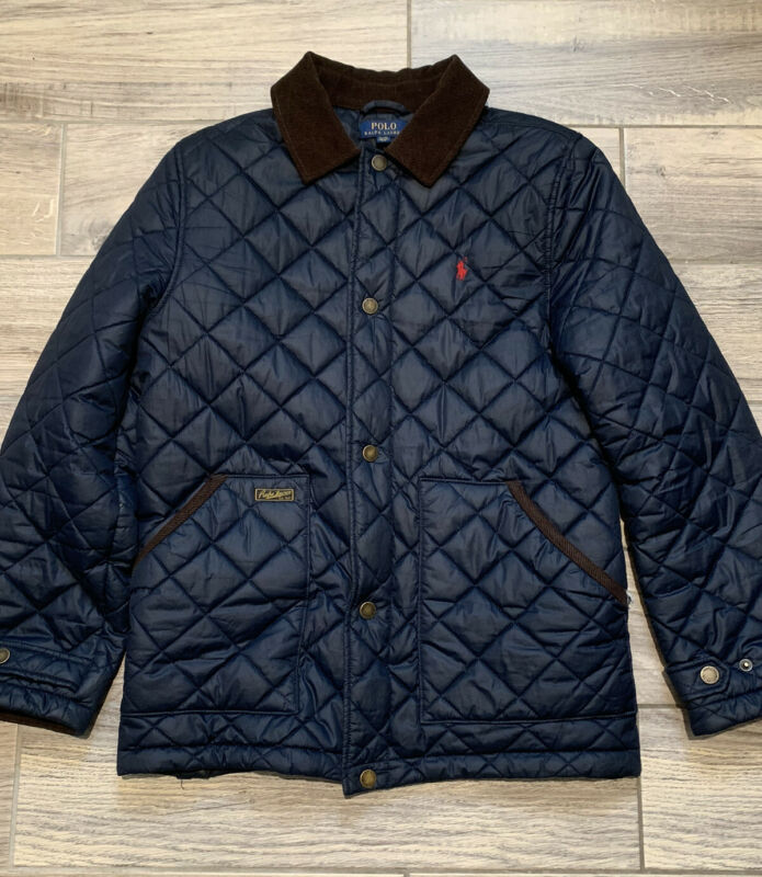 POLO RALPH LAUREN BOYS QUILTED JACKET HAGAN BARN COAT Navy Sz. XL 18-20 Corduroy