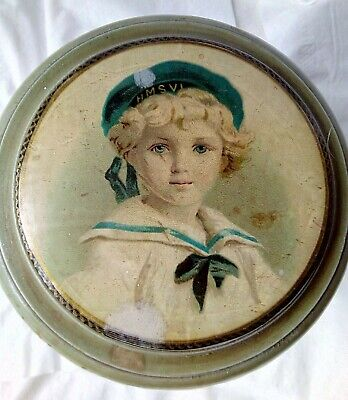 Antique Turned Wood Face Powder Container with boy's portrait on lid
