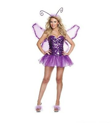 Tinkerbell Sequin Costume (Tinker Bell Fairy Signature Butterfly Costume Size L Sequins Corset Tutu)