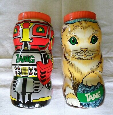 Powdered Drink Mix (Vintage TANG Powdered Drink Mix CAT and ROBOT Collectible Plastic Banks)