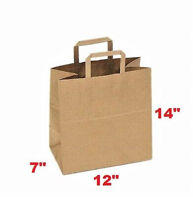 Merchandise Paper Bag 12x7x14 Paper Bag Large With Flat Handle Case Of 50
