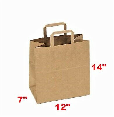 Merchandise Paper Bag 12x7x14 With Flat Handle Case Of 50 Free Shipping