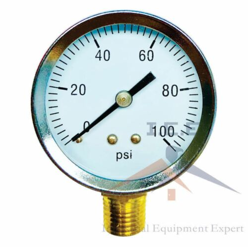 "1/4"" NPT Air Pressure Gauge 0-100 PSI Side Mount 2"" Face Premium Quality! WOG"