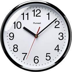 Silent Wall Clock Quartz Non Ticking Simple Design Home Office School Black New