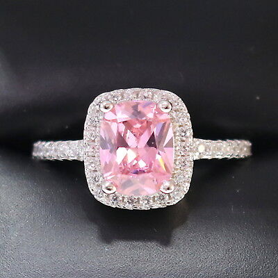 (Sparkling Princess Pink Sapphire Ring Women Anniversary Jewelry 14K White Gold)