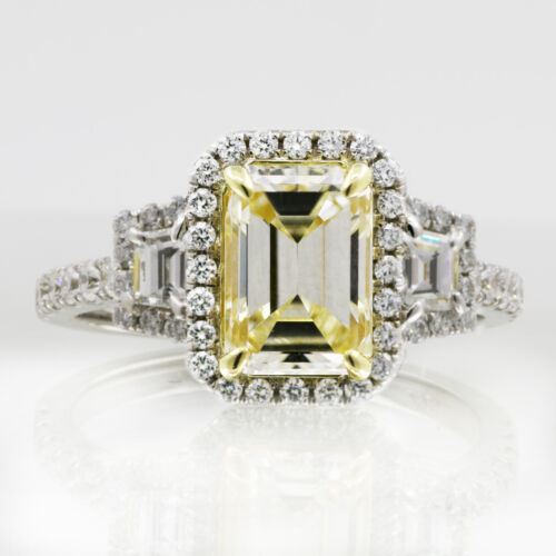 GIA Certified Platinum Engagement Ring 3.88 CT Fancy Yellow Emerald Cut Diamond
