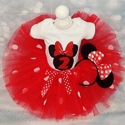 Minnie Mouse Smash Cake (Baby Girl 2nd Birthday Minnie Mouse Outfit Tutu Cake Smash Party Dress Photo)