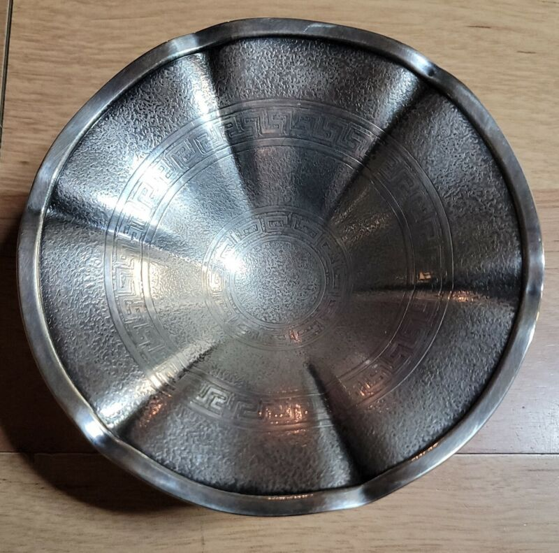 Ornate Antique Hellenik Homan Plate On Nickel Silver Footed Bowl Dish