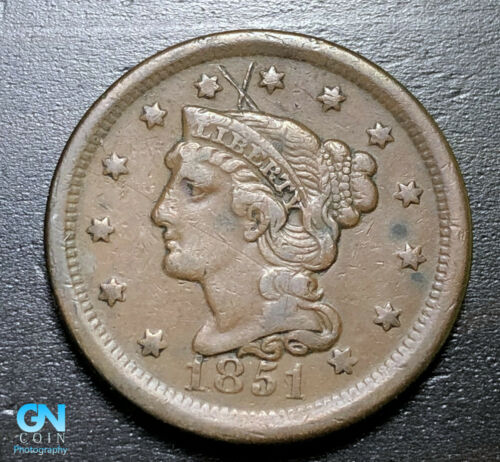 1851 Braided Hair Large Cent --  MAKE US AN OFFER!  #B3292