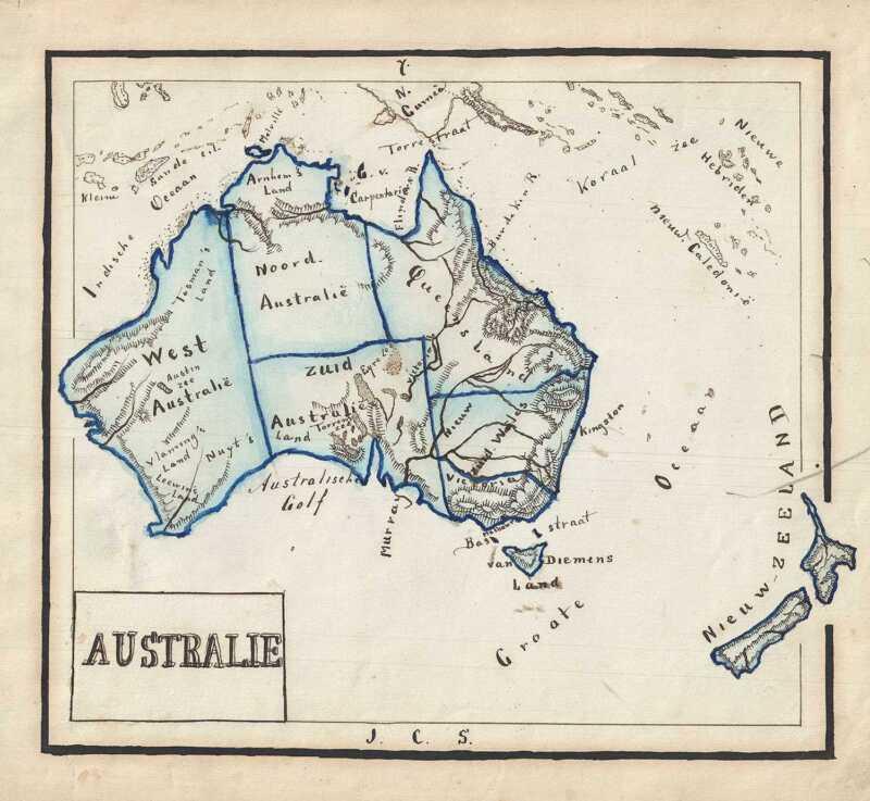 1871 Sikkel Manuscript Map of Australia and New Zealand