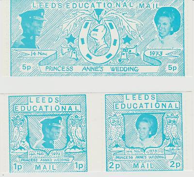 Leeds Educational Private Mail Labels 1973 Royal Wedding UM