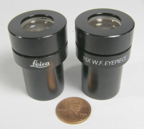 Leitz Wetzlar Microscope Eyepieces 15X W.F.    2 count