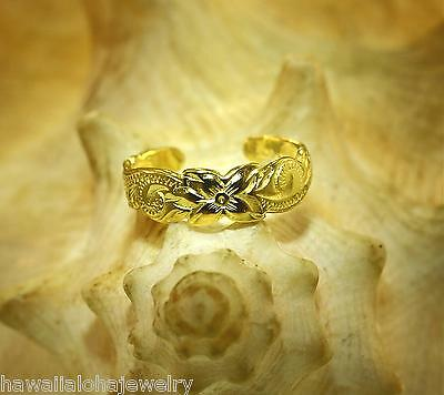 5.5mm 14k Yellow Gold Plated Over STER Silver Hawaiian Heritage Scrolls Toe Ring