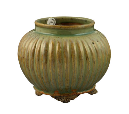 Signed Antique Chinese Ming Dynasty Ribbed Body Footed Vase w/ Celadon Glaze