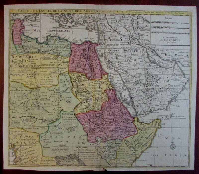 Arabia East Africa Egypt Ethiopia Abyssinia 1792 Elwe rare Dutch large map