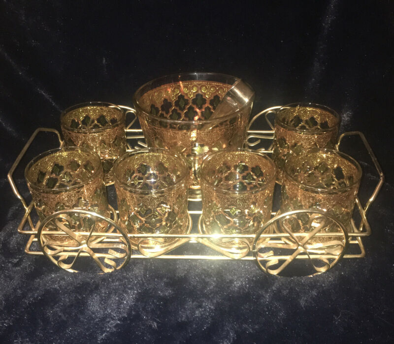 6 Vintage Culver Valencia Gold W/Green Diamonds Glasses Ice Bucket Tongs & Caddy