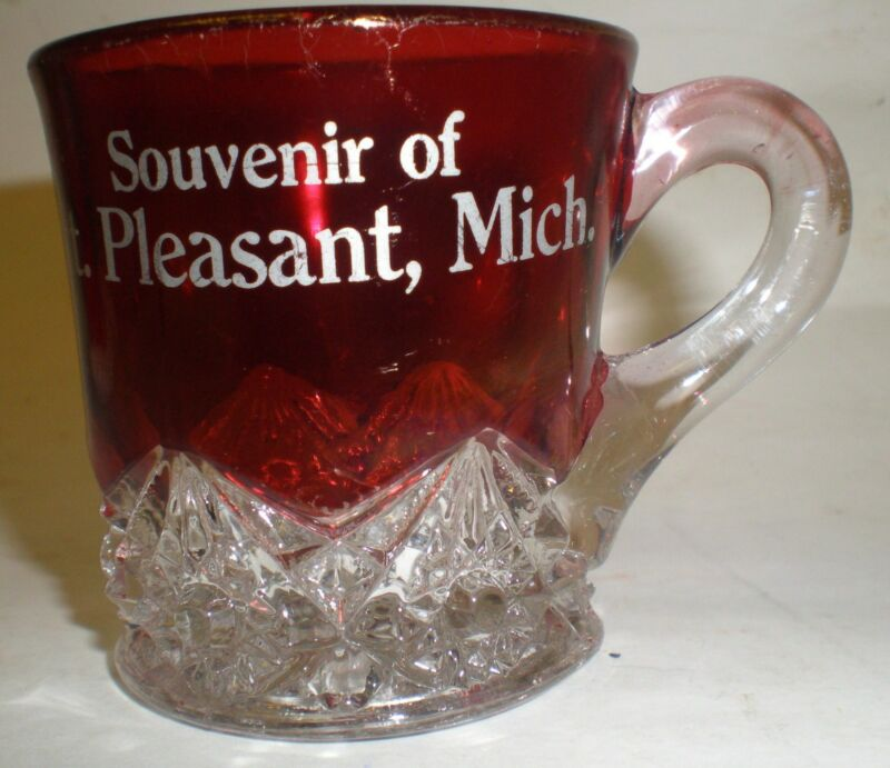 Antique Souvenir Glass Mt Pleasant MIch Clear & Ruby Flashed Glass EAPG Cup