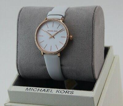 NEW AUTHENTIC MICHAEL KORS PYPER ROSE GOLD WHITE LEATHER WOMEN'S MK2802 WATCH