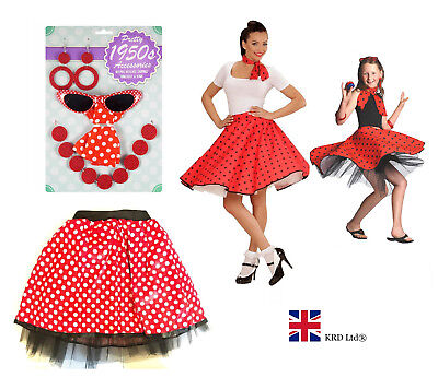 50s ROCK N ROLL TUTU COSTUME Kids Ladies Teens Fancy Dress Halloween Set NEW UK