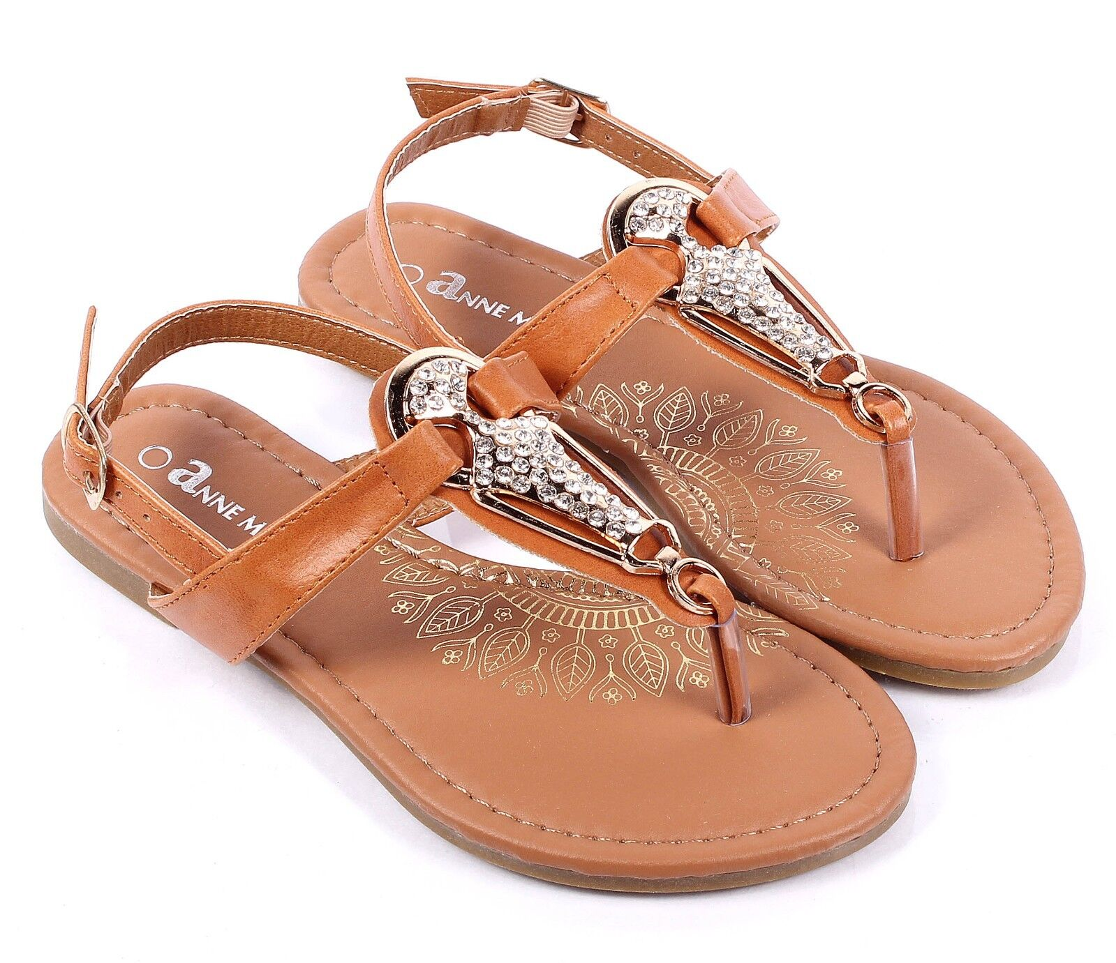 Gold Color Rhinestone Cute Glitter Kids T-Strap Sandals Girls Youth Shoes Size11