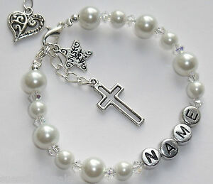 Personalised Bracelet Girls First Holy Communion Gift Bridesmaid Christening