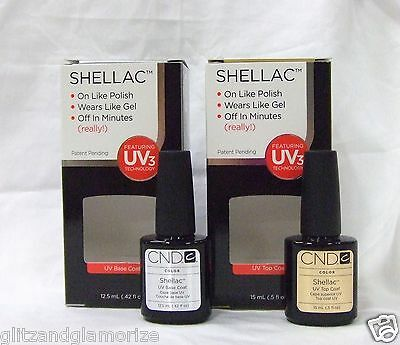 Cnd Creative Nail Shellac Gel Base Coat .42oz + Top Coat .5oz 2ct Big Size