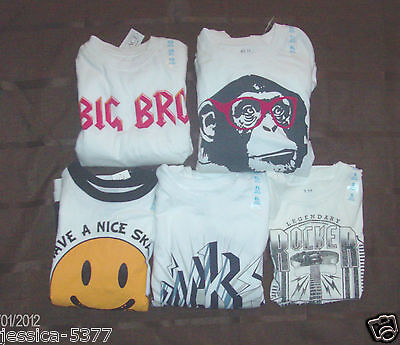 Boys Childrens Place Tshirts Smiley Face Guitar Monkey Size 4, 5-6 Or 14