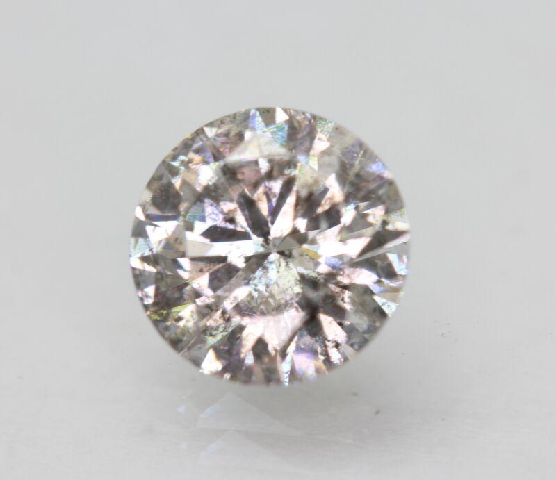 Cert 1.70 Carat Fancy Silver SI2 Round Brilliant Enhanced Natural Diamond 7.76mm