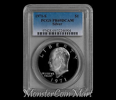 "1971-S Silver Eisenhower Dollar PCGS PR69DCAM with ""PEG LEG"" VARIETY"