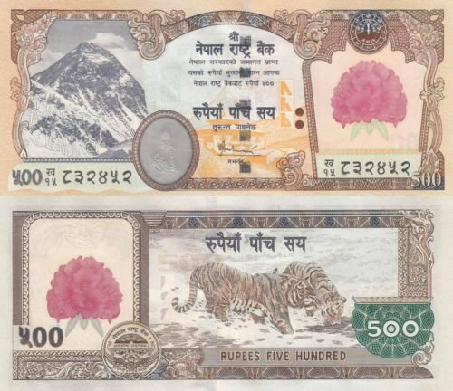 Nepal 500 Rupee (ND/2008) - Mt. Everest/Tigers/Rhododendron Flower  p-65 UNC
