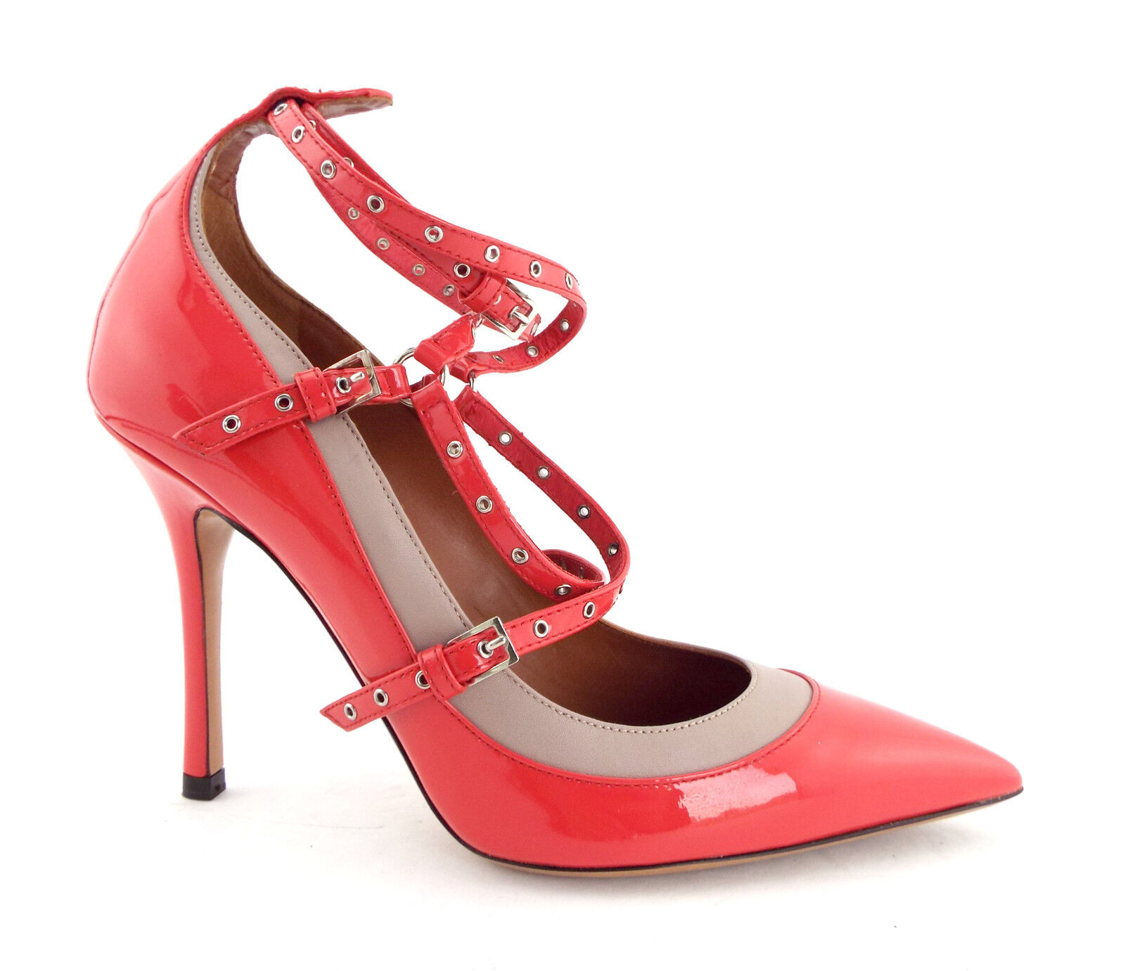 New VALENTINO Size 7 LOVE LATCH Grommet Pink Heels Pumps Shoes 37