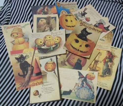 Set of 16 LARGE Vintage/Prim look Halloween labels/ vintage postcard images #3