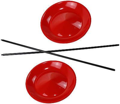2 Jonglierteller in der Farbe Rot incl. 2 Kunststoffstäben